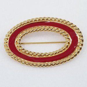 Monet Red Enamel Brooch w/Gold Tone Wrapped Edge